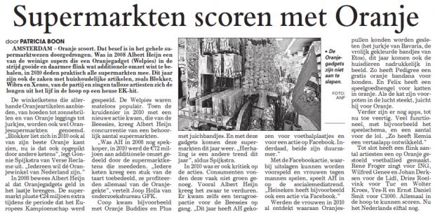 De Telegraaf - Supermarkten scoren met Oranje