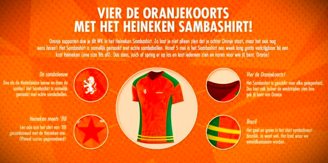 Specificaties van het Heineken Sambashirt